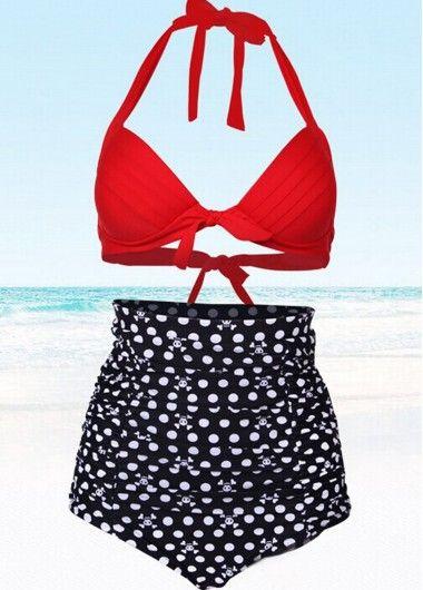 Plus Size Vintage High Waist Bikini on sale with Free Shipping!