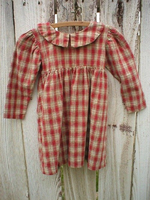 Red and tan gingham check dress