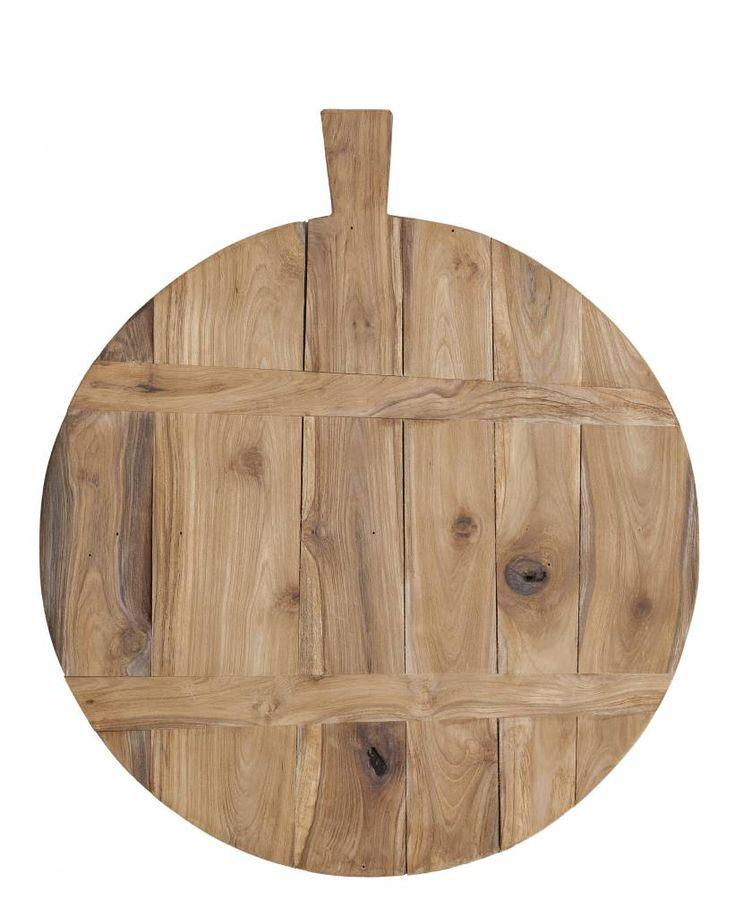 HK-living Broodplank bruin teak hout Ø37.5cm - M