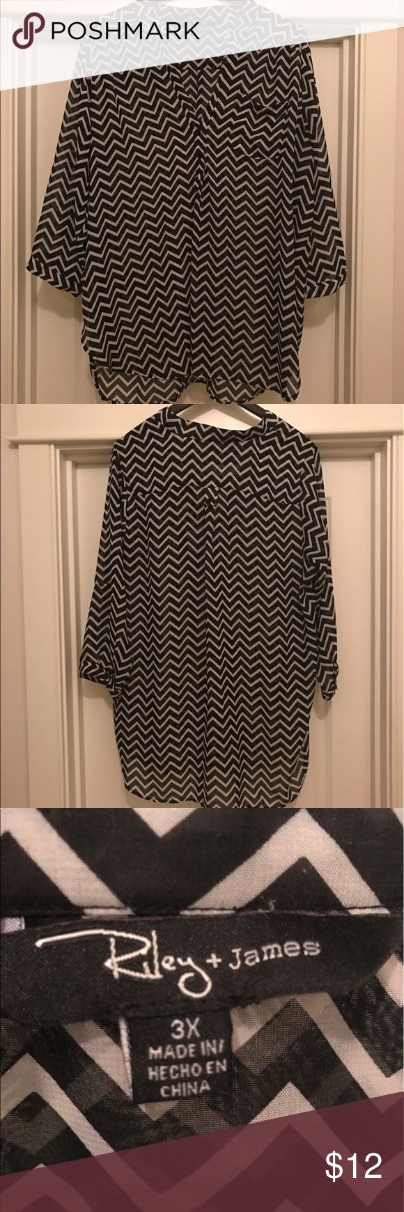 Riley + James 3X Women's Plus Size Chevron Print Chevron print anyone???  This fantastic Riley + James piece is a perfect fit for the office.  There is a small pocket on the front and the sheer like material is thinner for those hot summer days! Riley + James Tops Blouses