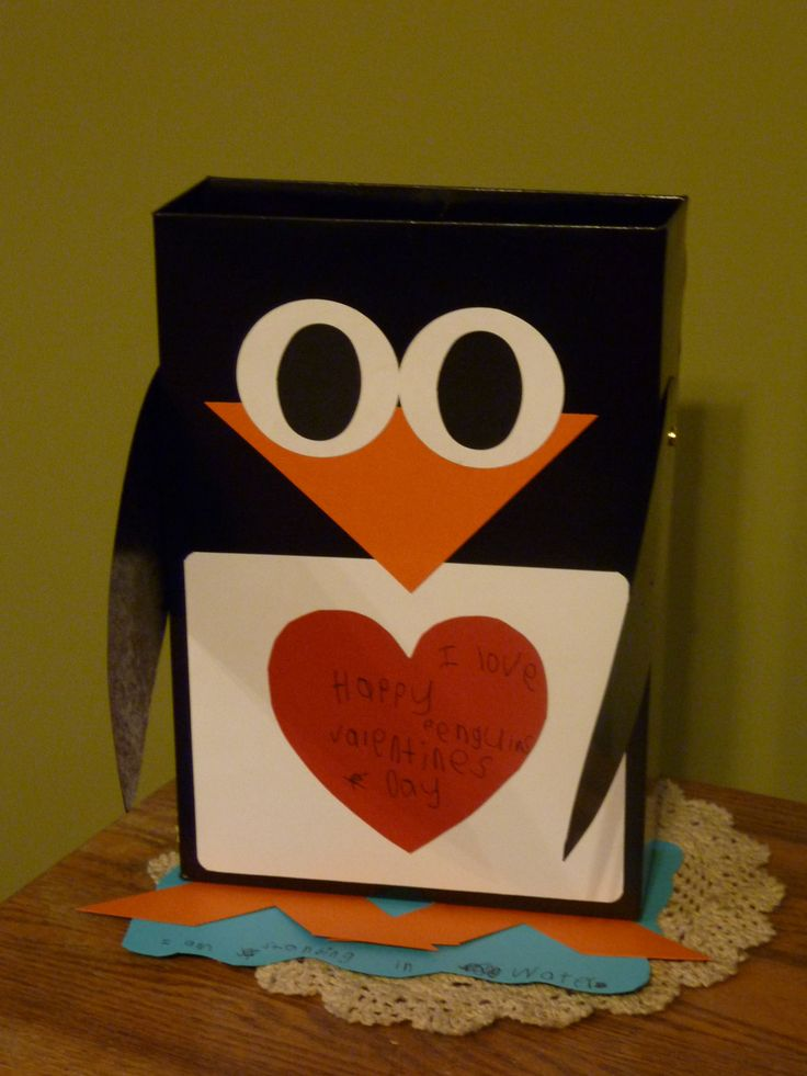 Penguin Valentine box we made for school. Maybe turn the white rectangle