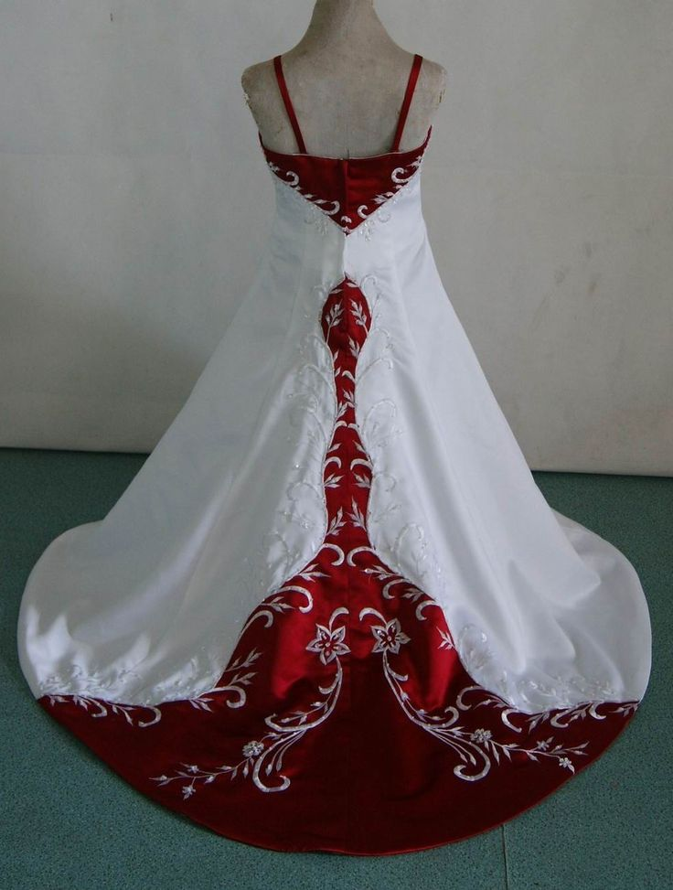 Red and white flower girl dresses for toddlers for Matching wedding and flower girl dresses