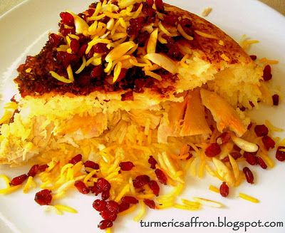 Turmeric and Saffron: Tah-Chin - Persian Upside Down Layered Saffron Rice & Chicken