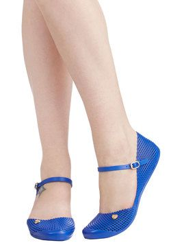 Mesh Is More Flat. There is so much to love about these bright-blue Mary Jane jellies by Mel Shoes! #blue #modcloth
