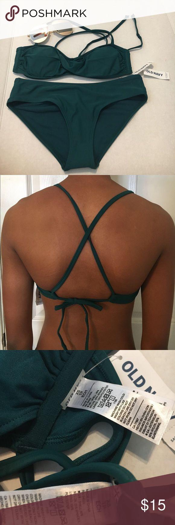 New Green Two Piece bikini 👙 Cute swim suit . Removable pads sale today Old Navy Swim Bikinis