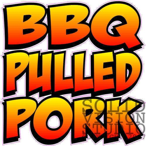 """7"""" BBQ Barbeque Pork Pig Restaurant Food Sign Decal"""