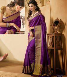 Buy Purple Zari Silk saree with  2 blouse banarasi-silk-saree online