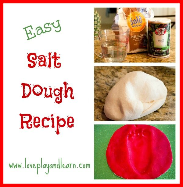 salt dough recipe    This is a super easy salt dough recipe. Salt dough is great for making ornaments, handprint or footprint keepsakes, figurines, jewelry, dinosaur fossils, and much more.: