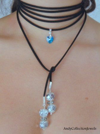 Splendid Women Wrap Black Choker with Zwarovski Heart Crystal Pendant, Crystal Beads and Sterling Silver Bail