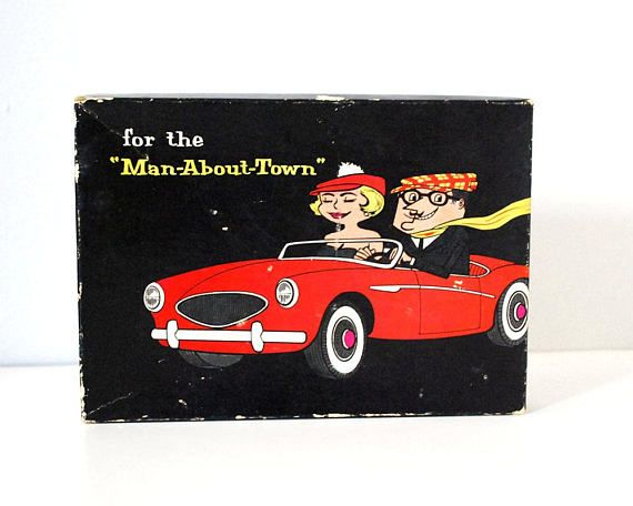 Fun and naughty adult novelty / gag gift for the Man About Town. From the 1950s to 1960s, this non-politically correct joke gift has great graphics, including a leering man with a cute blonde in a convertible on the box.  The Emergency Kit for the Man-About-Town includes:  * A cardboard box (labeled a genuine dp product on the side) with a cardboard insert printed in red and black, with a lecherous little cartoon man  * A Call Girl Credit Card, printed front and back (with jokes about up...