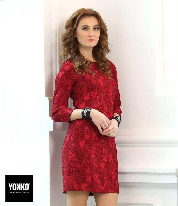INGRID  Eleganta in brocart elastic imprimat #dress #evening #brocade #red #fashion #style