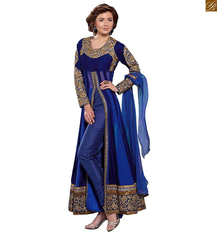 Image of Trendy cute dresses boutique type kurta salwar best suits pair blue pure-georgette golden floral embroidery & stone work salwar kameez with blue santoon bottom