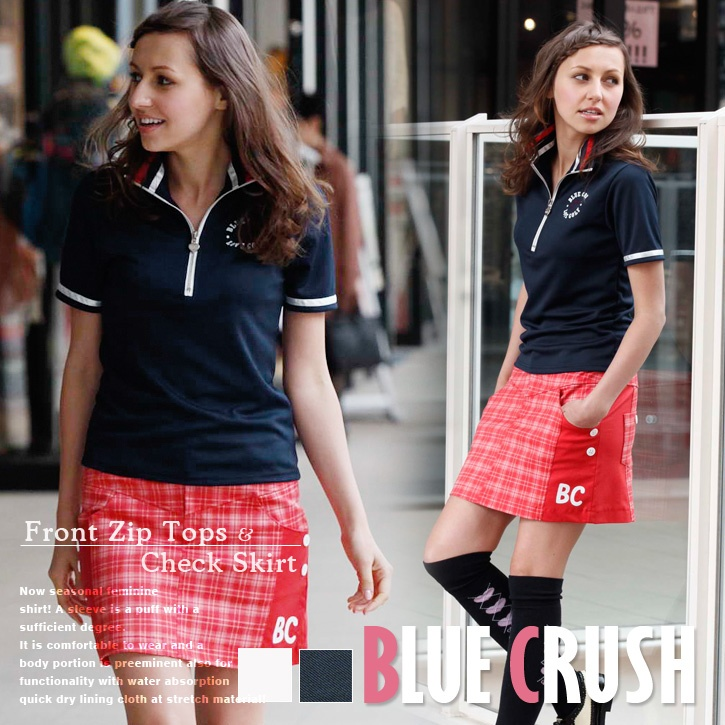 Front zip tops & Check skirt for golf