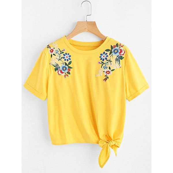 SheIn(sheinside) Embroidered Flower Applique Knot Hem Cuffed Tee (47 BRL) ❤ liked on Polyvore featuring tops, t-shirts, yellow, embellished t shirts, yellow t shirt, summer tees, summer tops and summer t shirts