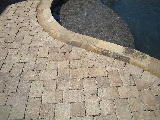 Pavers Venetian Stone Color Mocha Tumbled Porch Pool