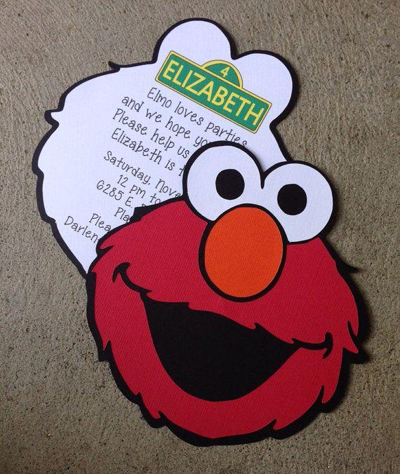 Elmo character handmade invitation