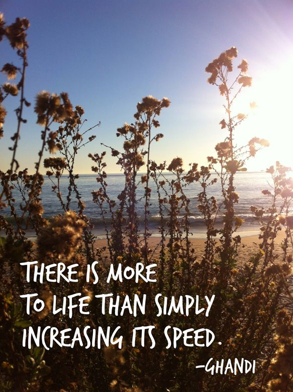 ghandi #quote I'm all for slowing down! :)