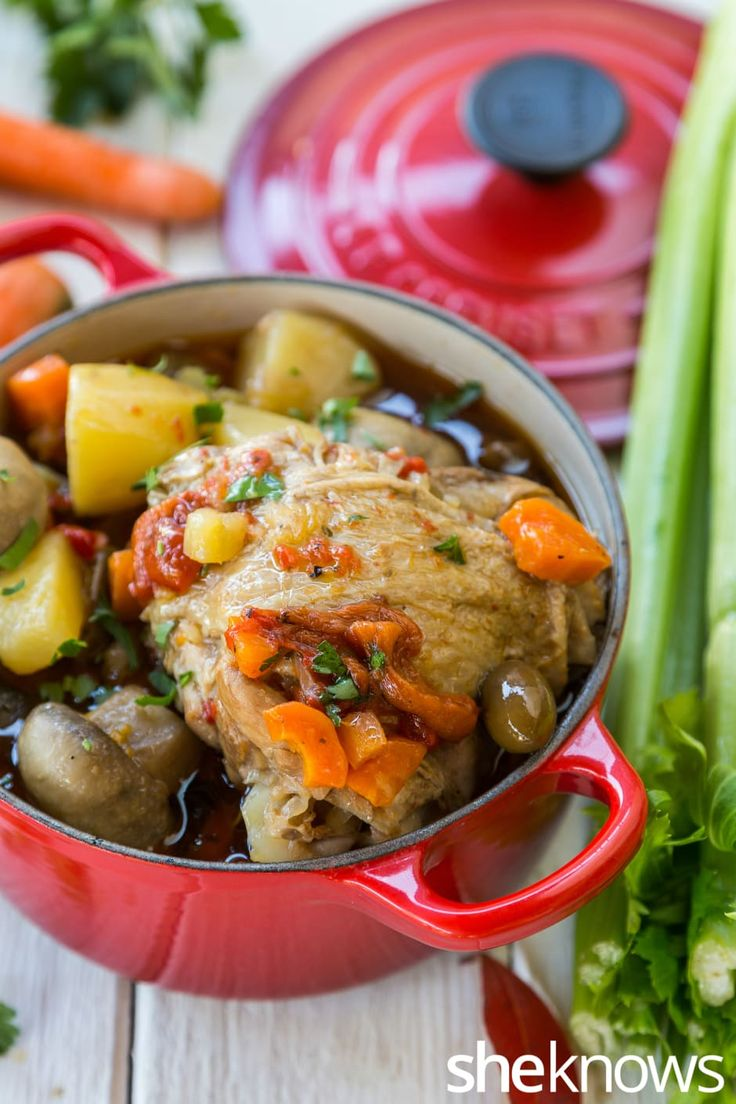 Chicken with mushrooms in brandy sauce is an impressive one-pot meal that takes only 10 minutes to prep