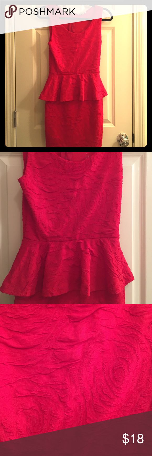 Red peplum dress Fitted peplum dress, like new. Has details in material which can be seen close up. Charlotte Russe Dresses