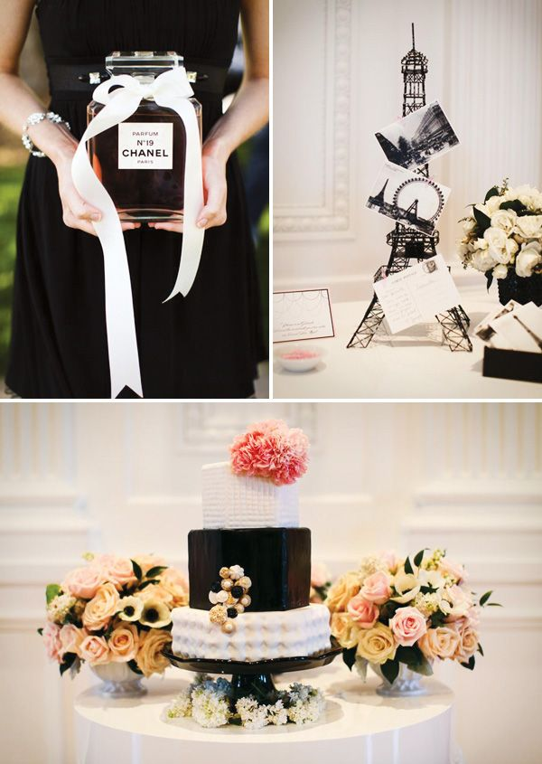 French Chanel-inspired showerInspiration Bridal, Coco Chanel, Chanel Parties, Chanel French, Black White, Parties Ideas, Parties Theme, French Inspiration, Bridal Showers