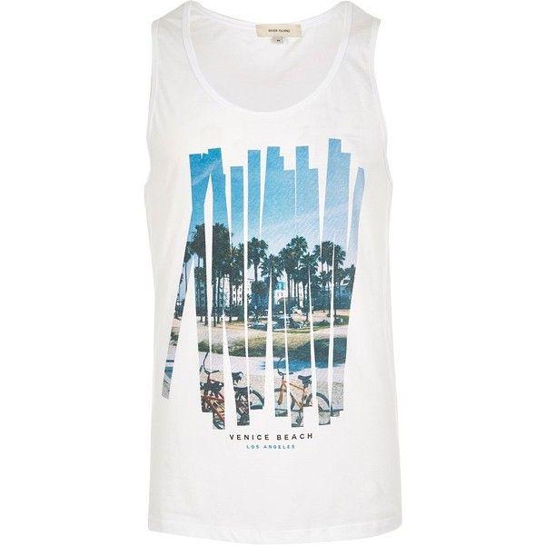 River Island White Venice Beach print vest (1,060 INR) via Polyvore featuring men's fashion, men's clothing, men's outerwear, men's vests, vests, white, mens vests outerwear, mens white vest, mens vest and mens tall vest