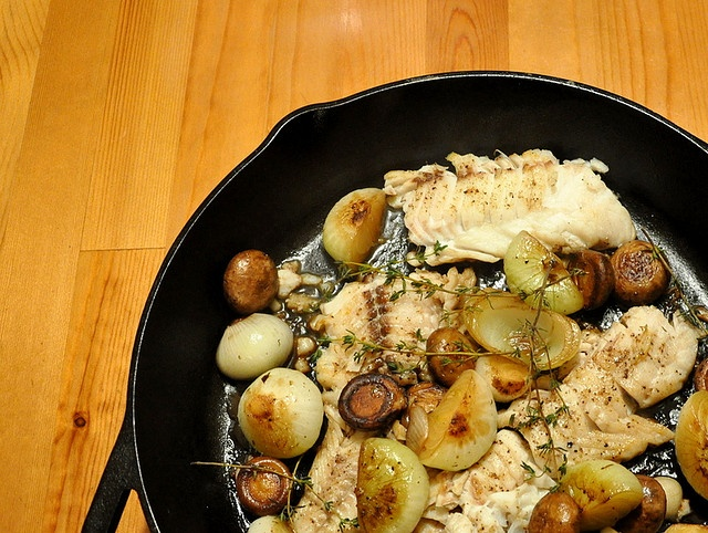 Cast Iron Skillet-Seared Cod with Mushrooms | Made this (minus the ...