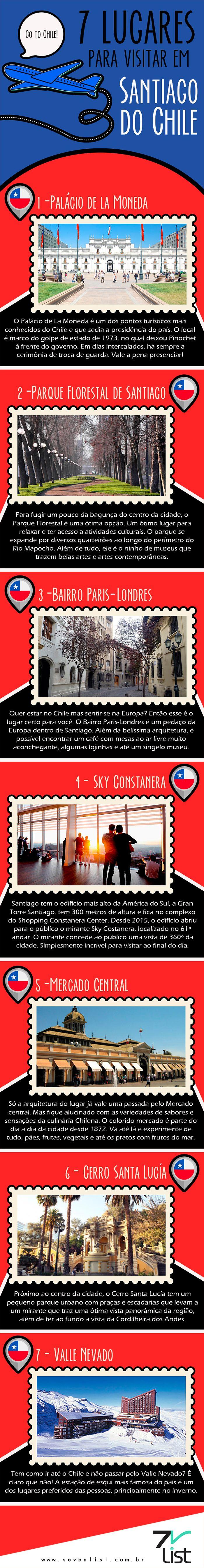 #SevenList #CabideColorido #Art #Infográfico #Design #Viagem #SantiagodoChile #Chile #Lugares #Cidade #Dicas #AméricadoSul