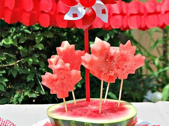 Patriotic Watermelon Pops for Canada Day Party