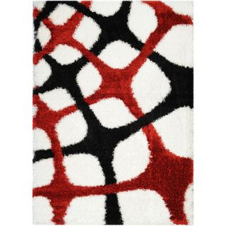 Black/ White Shag Area Rug (5'x7') | Overstock™ Shopping - Great Deals on 5x8 - 6x9 Rugs
