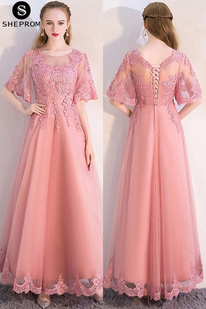 a38b670c0baf0 Pink Aline Long Party Dress with Appliques Puffy Sleeves #MXL86046 at  SheProm. #SheProm is an online store with thousands of dresses, range from  Prom ...