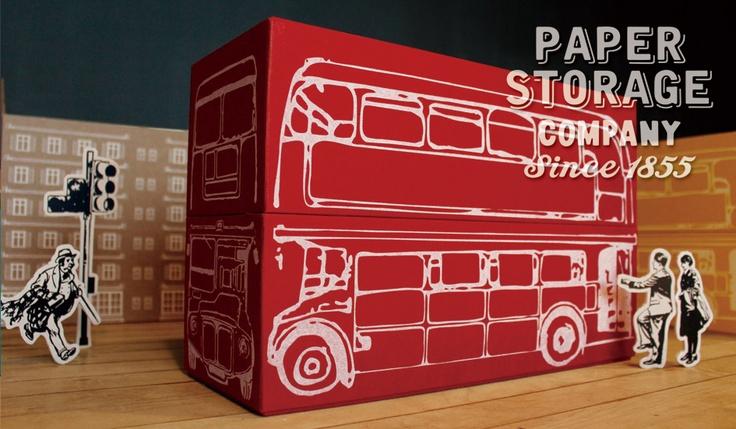 'Bus' cardboard storage box: Paper Storage Company, Japan