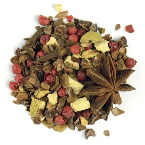 Cocoa Bean Chai, 1.75oz. (50g) Curl up by the fire with this combination of cocoa, anise and Indian spices. Ingredients: Cassia bits, cocoa kernels, cocoa bean peels, orange peels, star anis, ginger bits, pink pepper kernels, cardamom, spices. Organic certified ingredients. Price: $10.00