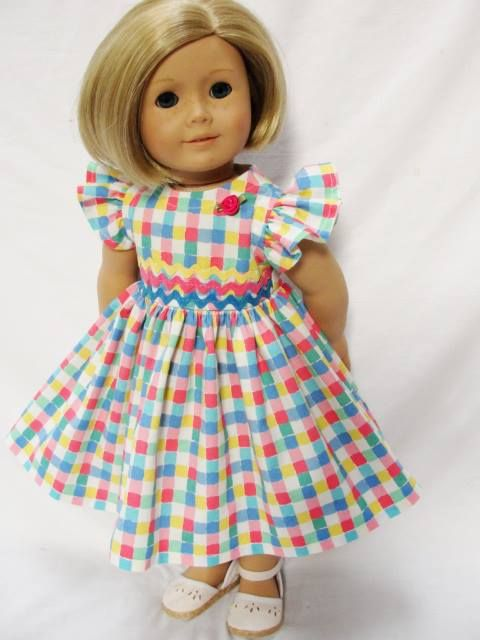 VERY CUTE!! Summer Check Dress - (45) Dresses - Doll Clothes by Jane Fulton