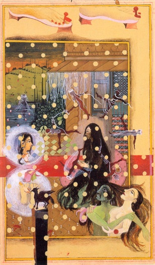 Shahzia Sikander Then and N.O.W. -Rapunzel Dialogues Cinderella, 1997 Vegetable color, dry pigment, watercolor, gold leaf, tea on handprepared  wasli  paper