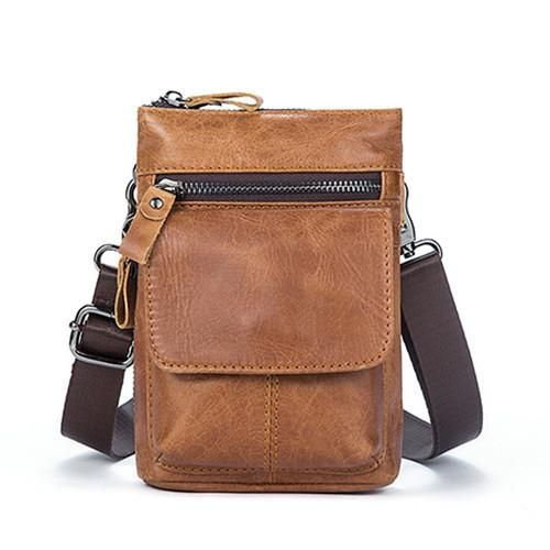 Men  faux leather Belt Waist Pack Messenger Bag Phone Small Flap Shoulder Cross-body Bag