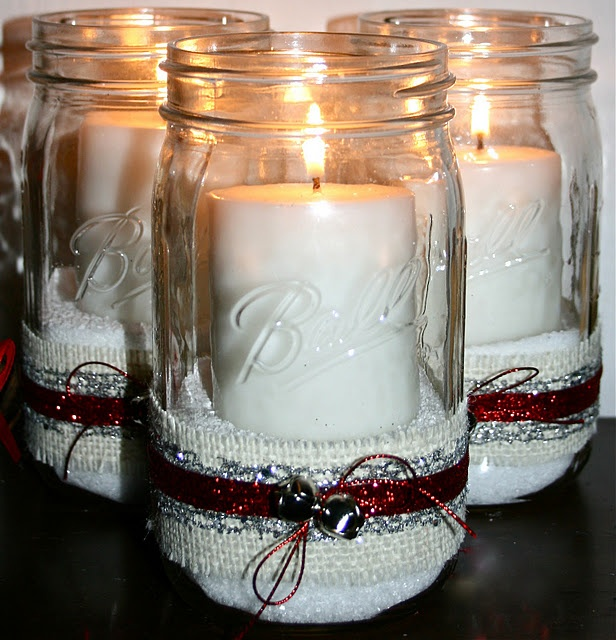 epsom salt looks like snow!  Use it in a jar or vase as filler with a candle.