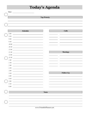 Prioritize work, calls, meetings, and correspondence with this business agenda featuring a half-hour schedule and gray headers. Free to download and print
