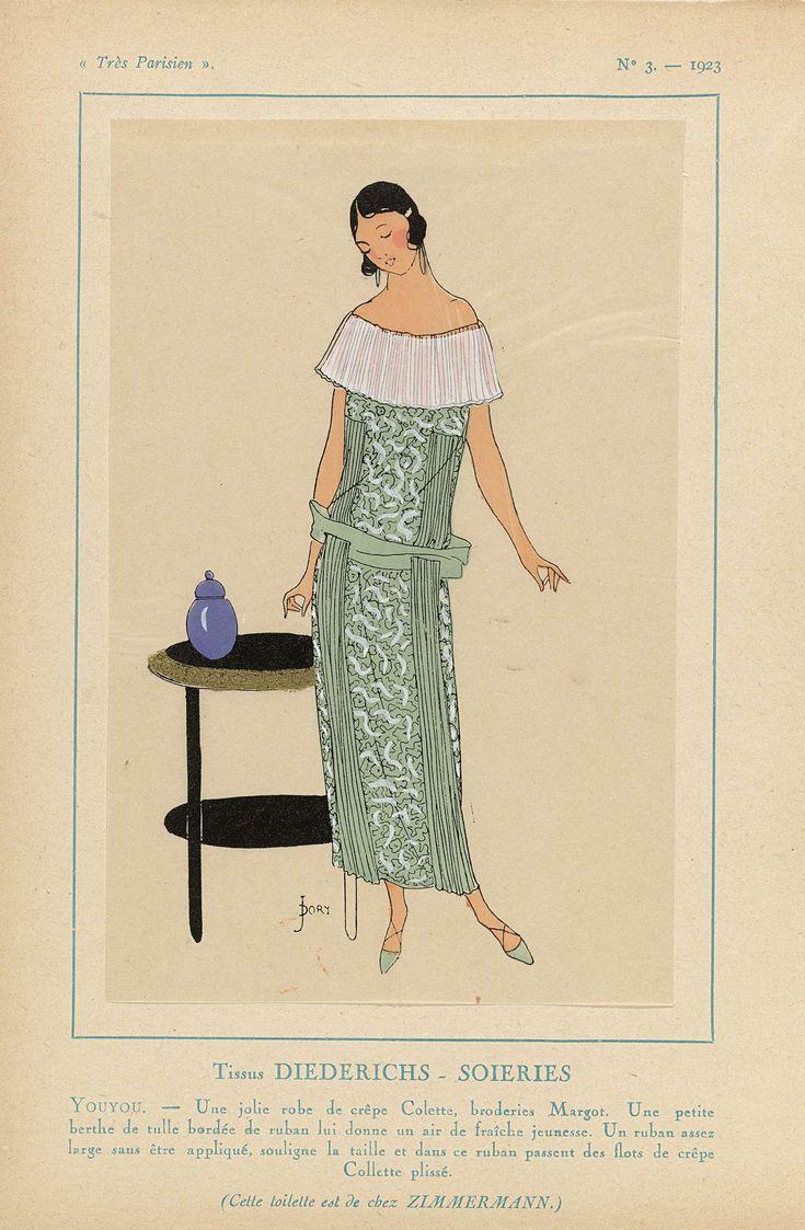 Anonymous | Très Parisien, 1923, No. 3: Tissus DIEDERICHS - SOIERIES. YOUYOU. - Une jolie robe..., Anonymous, Diederichs-Soieries, Zimmermann, 1923 | Stoffen van Diederichs-Soieries. Een leuke jurk van 'crêpe Colette' met borduurwerk 'Margot'. Een kleine berthe van tule afgezet met lint. Een lint benadrukt de taille, hier doorheen zijn stroken van geplisseerde 'crêpe Collette' geschoven. Dit toilette is ontworpen door Zimmerman. Prent uit het modetijdschrift Très Parisien (1920-1936).