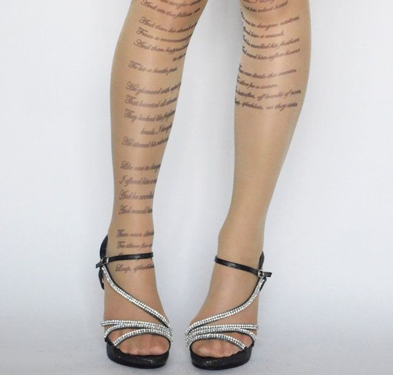 EMILY DICKINSON Poem Tattoo Tights Literature by colinedesign