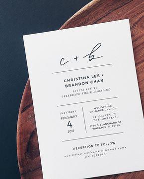 Minimalist Black and White Handlettered Wedding Invitations by Grace Niu