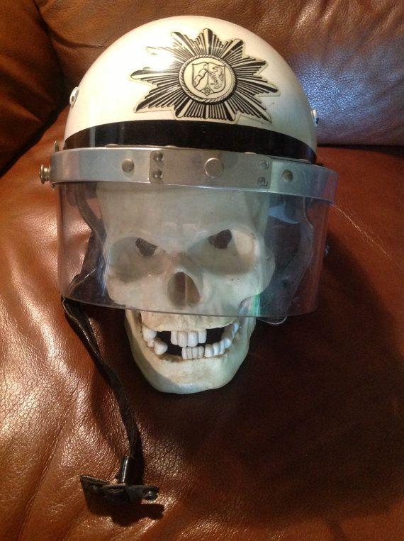 wwII German motorcycle helmet visor leather head by TexasJunkLady