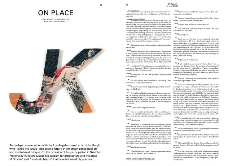 Mousse Magazine #59 ~ Summer 2017  John Knight in conversation with Hans Ulrich Obrist