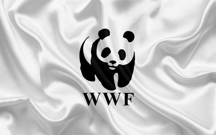 Descargar fondos de pantalla WWF bandera, el Fondo Mundial para la naturaleza, bandera de seda blanca, WWF emblema, panda, logotipo