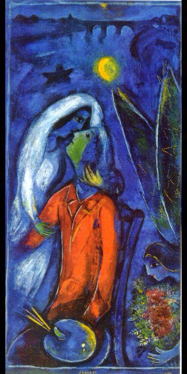 Marc Chagall - Lovers near Bridge, 1948