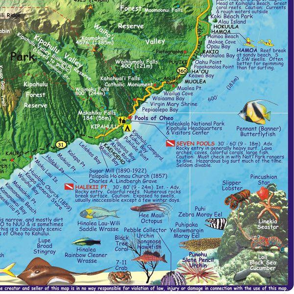Maui Attractions Map | Maui Hawaii Diving Map - Maui Hawaii • mappery