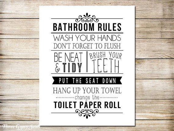 funny bathroom art black and white bathroom rules printable art