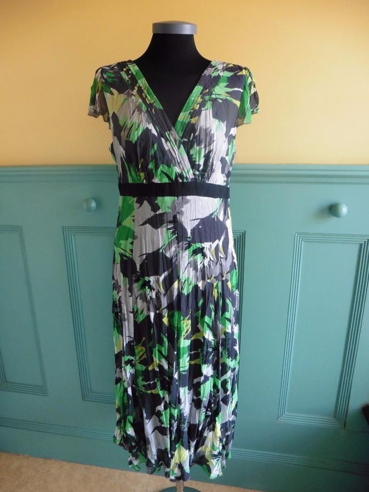 SIZE UK 14R PER UNA MARKS & SPENCER BLACK GREY GREEN CRINKLE SUMMER DRESS M&S | eBay