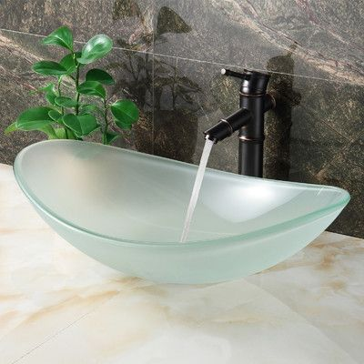 Double Layered Tempered Glass Boat U Shaped Vessel Bathroom Sink