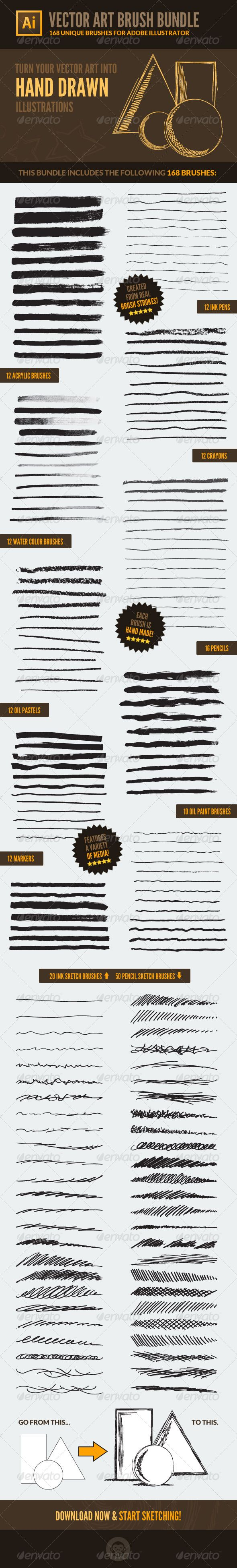 168 Vector Art Brushes - Bundle . Overview This set of brushes, for Adobe Illustrator, includes 10 different media libraries with 168 unique art brushes.