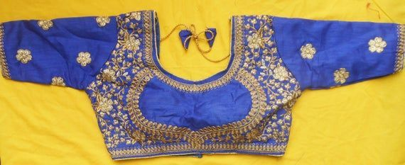 Free Shipping Designer Wedding Saree Embroidered Work Readymade Party Wear Stitched Blouse Crop Sari Top New Banglori Silk For Women